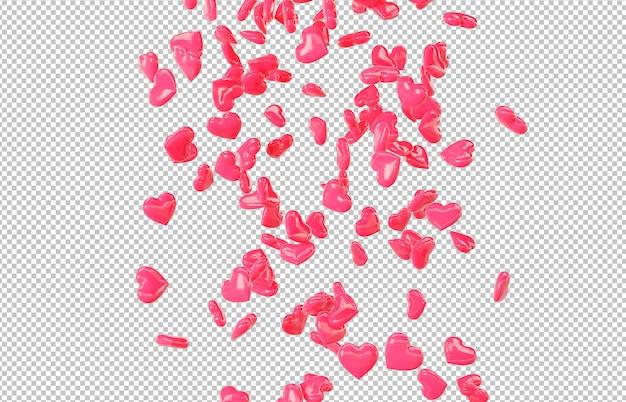 Rote fallende herzen ausschneiden
