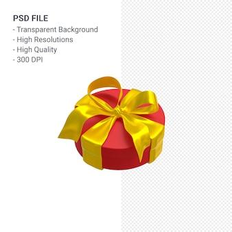 Rote geschenkbox 3d mit gelbem band lokalisiert