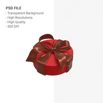 Rote geschenkbox 3d mit rotem band isoliert