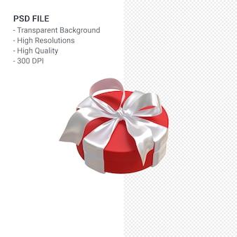 Rote geschenkbox 3d mit weißem band lokalisiert