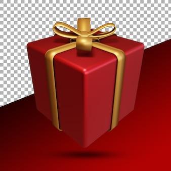 Rote geschenkbox in 3d-rendering isoliert