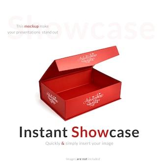 Rote geschenkbox mock up