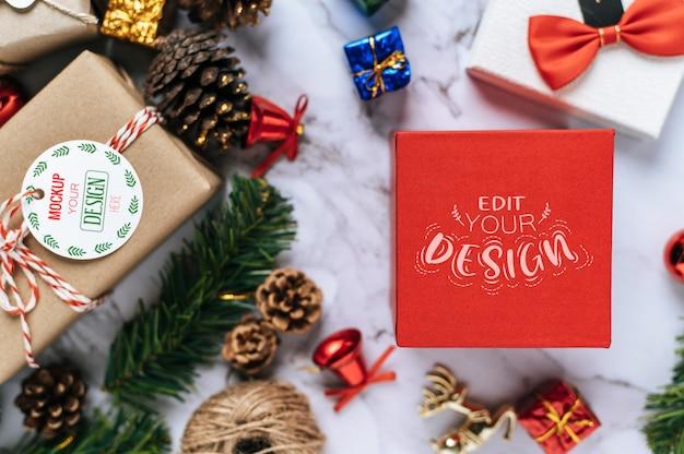 Rote geschenkbox weihnachten
