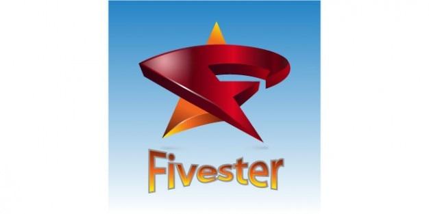 Rote logo-vorlage mit fünf sternen
