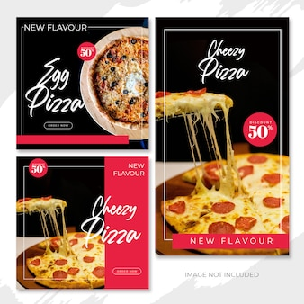 Rote pizza new flavor social media beitragsvorlage