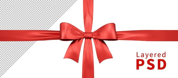 Rote satin geschenkband schleife isoliert