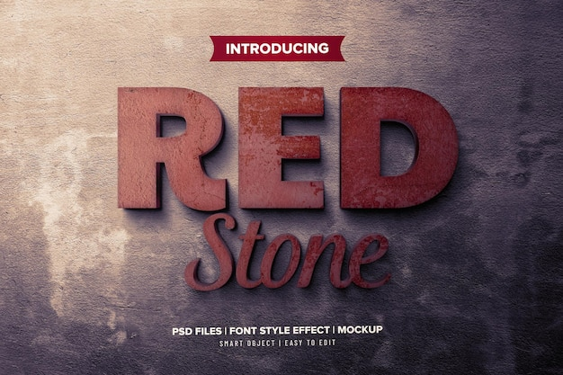 Rote stein 3d schriftart-effektschablone