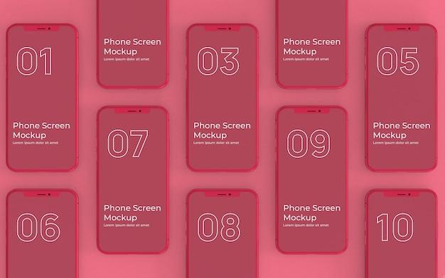 Rote telefonbildschirme mockup-draufsicht