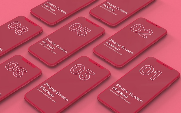 Rote telefonbildschirme modell linke ansicht