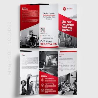 Rote trifold broschüre