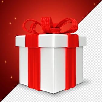 Rote weihnachtsgeschenkbox 3d render isoliert