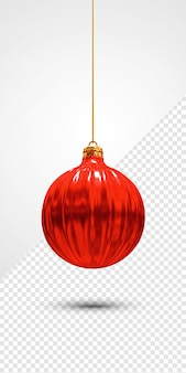 Rote weihnachtskugel 3d render isoliert