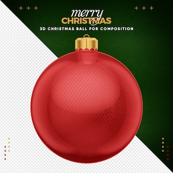 Rote weihnachtskugel für komposition