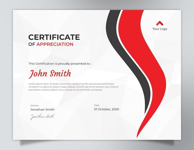 Rote wellen mit polygon-muster-hintergrund-zertifikat-design