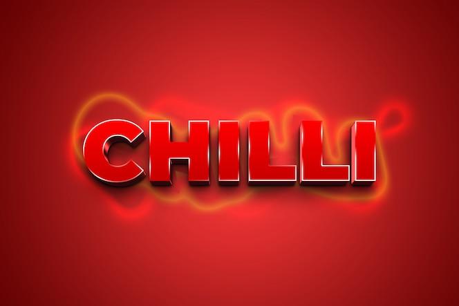 Roter chili 3d-textstileffekt
