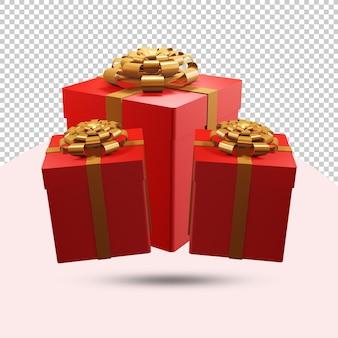 Roter geschenkbox 3d-rendering transparenter hintergrund