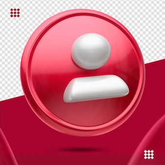 Roter knopf mit weißem anhänger wie 3d linkes symbol isoliert
