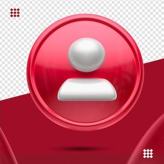 Roter knopf mit weißem anhänger wie 3d vorderes symbol isoliert