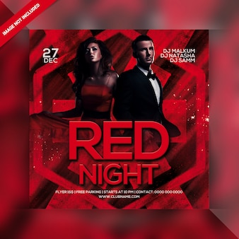 Roter nachtparty-flyer