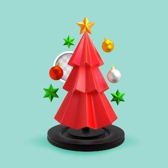 Roter weihnachtsbaum. 3d-rendering