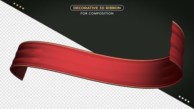 Rotes 3d-band mit realistischer textur für die komposition