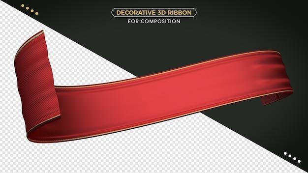 Rotes 3d-band mit realistischer textur