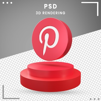 Rotes 3d gedrehtes logo pinterest isoliert