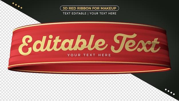 Rotes 3d-renderband mit bearbeitbarem text für die komposition