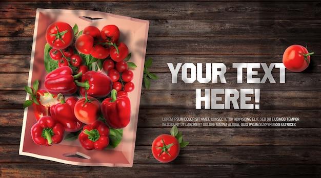 Rotes bio-gemüse in vintage-behälter und dunklem holz backgr