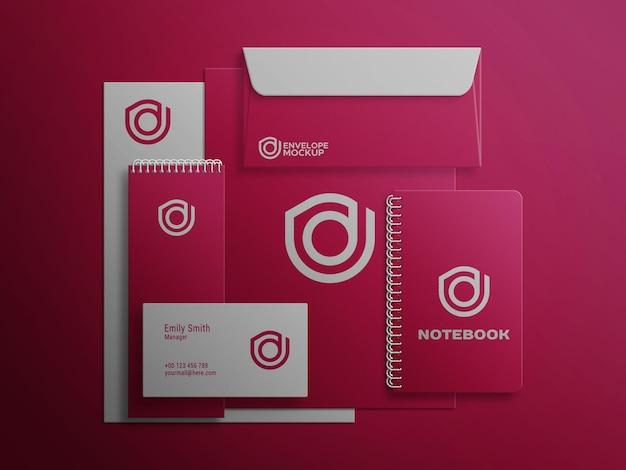 Rotes briefpapier mockup set premium psd