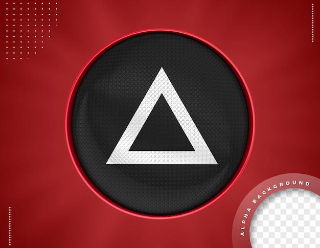 Rotes dreieck 3d-symbol für die komposition