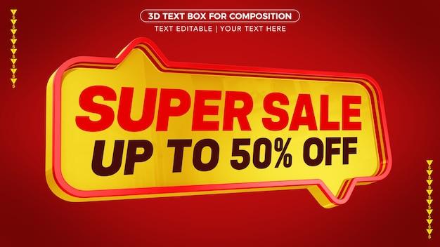 Rotes super sale textfeld mit rabatt
