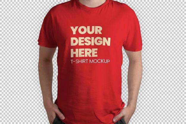 Rotes t-shirt modell vorderansicht mockup rotes t-shirt modell vorderansicht mockup