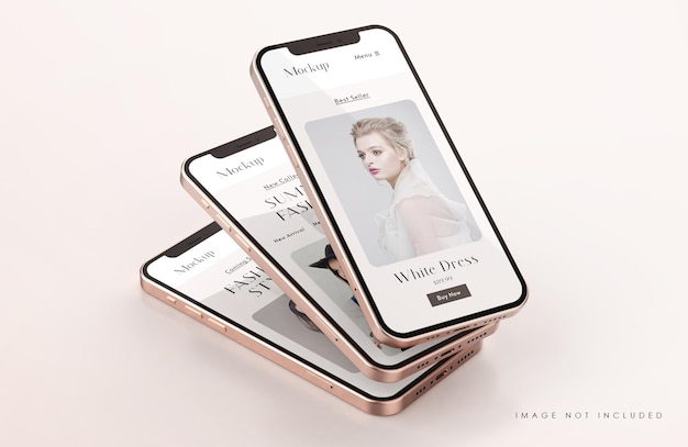 Rotes und goldenes telefonbildschirmmodell mit präsentationsschablone der mobilen app