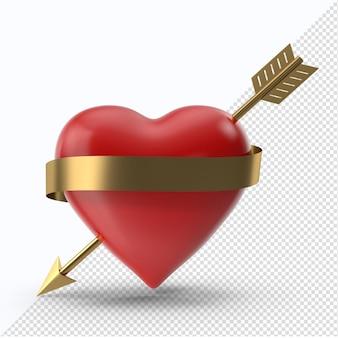 Rotes valentinstagherz mit goldenem pfeil und goldenem band