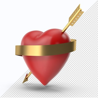 Rotes valentinstagherz mit goldenem pfeil und seitenansicht des goldenen bandes