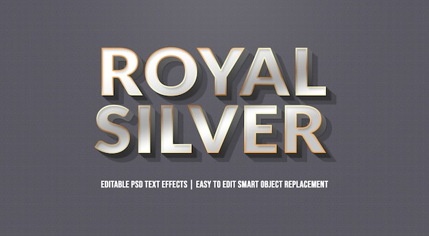 Royal silver text effect premium-psd