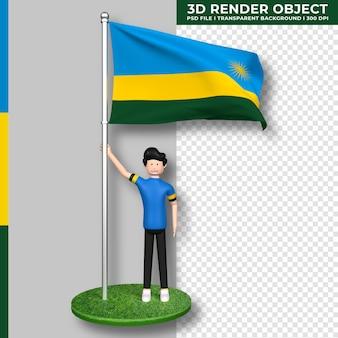 Ruanda-flagge mit niedlichen menschen-cartoon-figur. tag der unabhängigkeit. 3d-rendering.