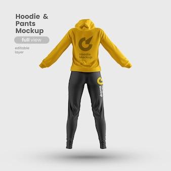 Rückansicht des anpassbaren premium-frauen-hoodie- und -hosenmodells