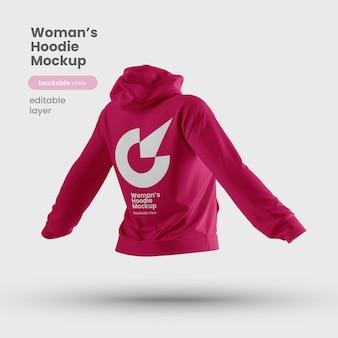 Rückansicht des premium customizable woman hoodie mockups
