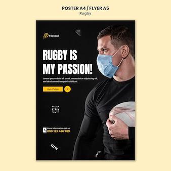 Rugby-druckvorlage mit foto