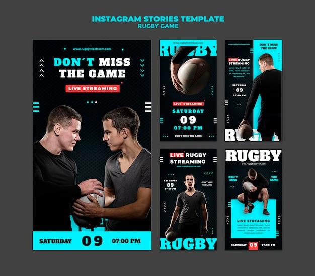 Rugby-spiel insta-story-design-vorlage