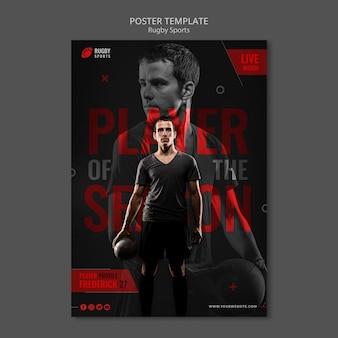 Rugby-spieler-poster-vorlage