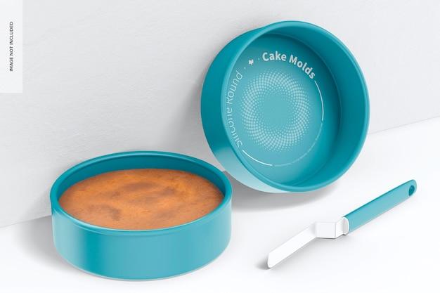 Runde kuchenform aus silikon, angelehnt