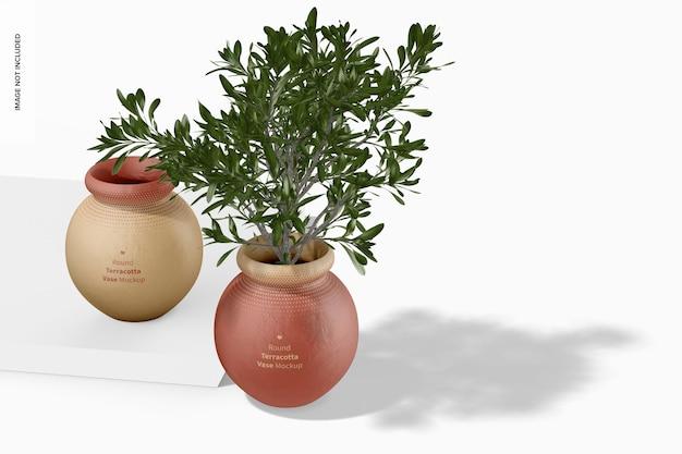 Runde terrakotta-vasen mockup