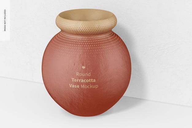 Runde terrakotta-vasen-modell, nahaufnahme
