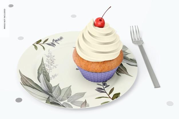 Runder dessertteller mit cupcake-mockup