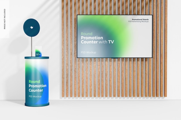 Runder promotion-counter mit tv-mockup