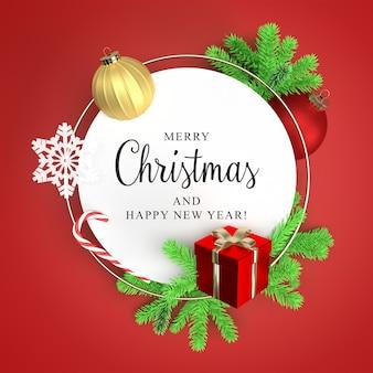 Runder rahmen mit christbaumzweigen und geschenkbox-modell