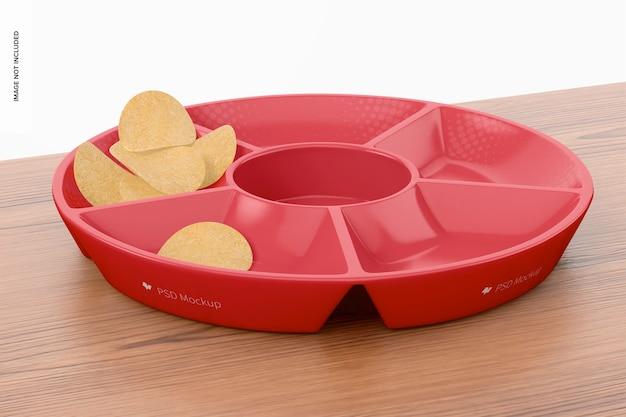 Rundes fach mit kartoffelchips-modell